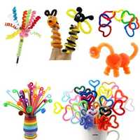 100pcs Kids DIY Handmade Educational Stick Plush Wool Wire Flexible Flocking MaterialsPipe Flocking Hair Toys