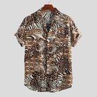 Meilleurs prix Men Leopard Print Short Sleeve Relaxed Shirts