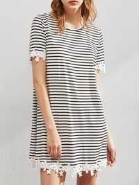 Women Loose Round Necklace Trim Striped Tee Dress