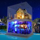 Promotion T-Yu Hawaii Villa DIY Dollhouse Miniature Model Doll House With Light Cover Extra Gift Decor Collection Toy