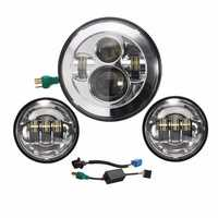 7inch LED Headlight with 2pcs 4.5inch LED Auxiliary Passing Lights For Harley Davidson