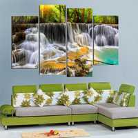 4Pcs Waterfall Combination Painting Printed On Canvas Frameless Drawing Home Decoration Paper Art