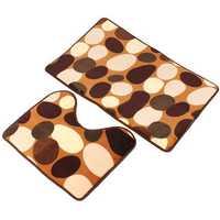 2pcs Stone Pattern Toilet Floor Rug Non Slip Bathroom Closestool Mat Carpet Sets