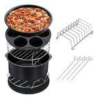 Meilleurs prix 7PCS Air Fryer Accessories Set Chips Baking Basket Pizza Pan Home Kitchen Tool