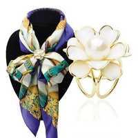 Elegant Black White Flower Pearls Scarf Buckle Brooches