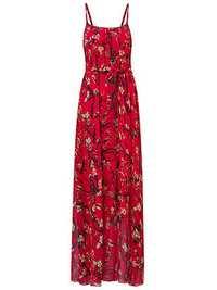 Women Summer Chiffon Spaghetti Strap Printed Loose Maxi Dres