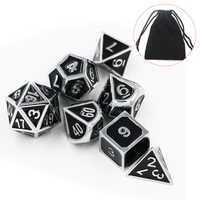 7pcs Heavy Metal Polyhedral Dices Multisided Dices Set RPG With Bag