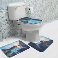 3pcs Reef Pattern Velvet Fabric Bath Rugs Set Pedestal Mat Toilet Set Cover Carpet