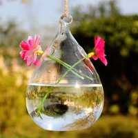 Haning Water Drop Shaped Glass Vase Double Holes Bottle Home Garden Wedding Party Decoration