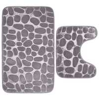 2Pcs Waterproof Bath Carpet Stone Pedestal Memory Foam Mat Bathroom Non-slip Set