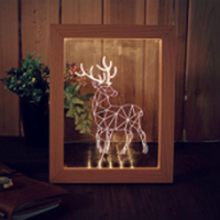 KCASA FL-706 3D Photo Frame Illuminative LED Night Light Wooden Elk Desktop Decorative USB Lamp For Bedroom Art Decor Christmas Gifts