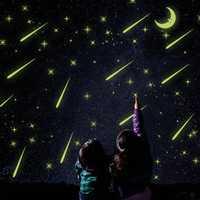 Luminous Meteor Shower Wall Stickers Glow In Darkness Home Room Window Wall Decor