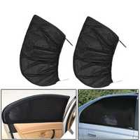 2Pcs Black Car Rear Window Sun Shade Curtain Cover UV Protector Shield Sunshade Net 115X50cm
