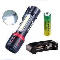 Skywolfeye E81 COB+XPE 4 Modes 300Lumens Zoomable Mini Portable LED Flashlight 14500/AA Battery Work Light