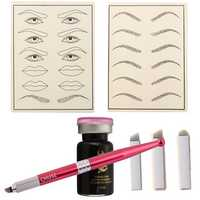 Permanent Eyebrow Pen Practice Set Tattoo Machine Microblading Needle Eye Makeup for Learner