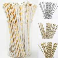 25Pcs Colourful Vintage Striped Dot Paper Drinking Straws Party Wedding Supplies
