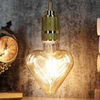E27 4W Heart Shaped Non-dimmable LED COB Filament Light Bulb Edison Lamp Indoor Home Decor AC220V