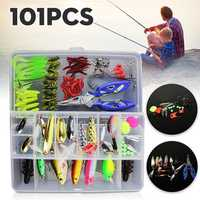 ZANLURE 101Pcs Fishing Lure Spinners Plugs Spoons Soft Bait Pike Trout Salmon+Box Set
