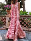 Meilleurs prix Women Straps Sleeveless V-neck Stripe A Line Long Maxi Dress