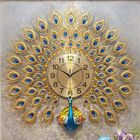 Bon prix 3D Large Wall Clock Luxury Peacock Metal Living Room Wall Watch Home Decoration