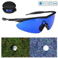 Golf Ball Finder Locating Glasses Blue Lens Less Straining Sunglasses Goggles with Box