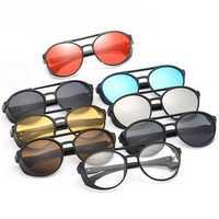 KCASA Fashion Men Women Punk Retro Round Sunglasses