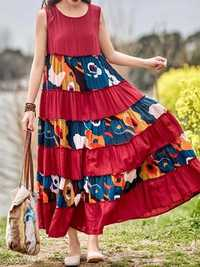 Vintage Sleeveless O-neck Loose Swing Floral Maxi Dress