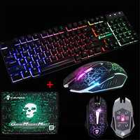 LED Backlit Gaming Keyboard+2400DPI Mouse Sets+Mouse Pad USB Wired Keyboard Set