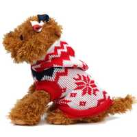 Pet Dog Cat Sweater Puppy Coat Snowflake Winter Warm Hat Coat Clothes Costume Jacket Apparel Hoodie