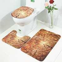 Honana BX 3 Pcs Creative Wood Pattern Non Slip Carpet Bathroom Bath Mat Toilet Cover Lid Toilet Mat