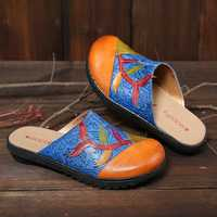 SOCOFY Handmade Genuine Leather Splicing Slip On Flat Sandal