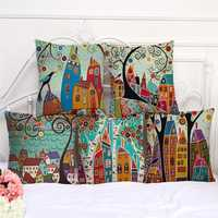 Honana PC-245 Linen Vintage European Building Style Home Pattern Decorative Pillowcase