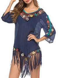 Tassel 3D Hook Flower Beach Sun Protection Cover-Ups