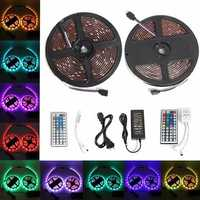 2PCS 5M 150 LEDs 5050 RGB Waterproof 44 Key Remote Control DC12V Flexible LED Strip Light Kit