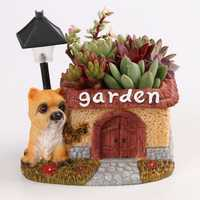 LED Cute Dog Succulent Flower Pot with Drainage Resin Small Flower Pot Garden Plants Pot Desk Flower Decoration