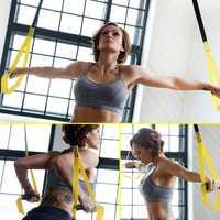 Set TRX Yoga Fitness Resistance Bands Hanging Belt Suspensio
