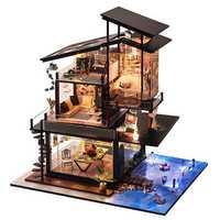 T-Yu Dollhouse DIY Valencia Coastal Villa Doll House Miniature Furniture Kit Collection Gift