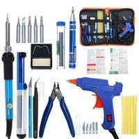 Electric Soldering Iron Set Desoldering Pump Welding Hot Melt Glue G un Hand Tool Sets EU 220V