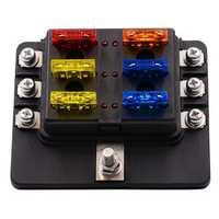 12-32V 6 Way 12 Blade Fuse Box Holder LED Warning Lights Car Race Rally Marine