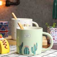 Creative Ceramic Coffee Cup Mug Water Cup Cactus Pattern Mug Durable Mug