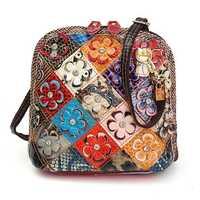Women Genuine Leather Patchwork Floral Crossbody Bag