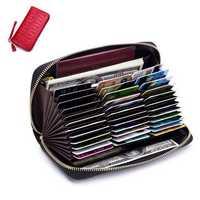 Women RFID Antimagnetic Genuine Leather Multi-slots Wallet