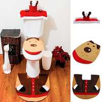 Christmas Reindeer Toilet Seat Cover Happy Santa Closestool Decorations Rug Set