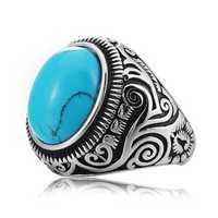 REZEX Vintage Blue Black Turquoise Rings Titanium Steel
