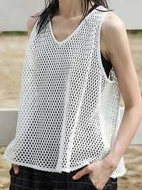Women Brief Solid Color Sleeveless Mesh Tank Tops