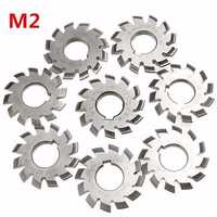 8pcs Module 2 Diameter 22mm 20degree #1-8 M2 HSS Involute Gear Milling Cutter