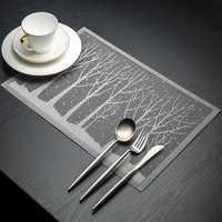 KCASA Placemat Fashion Pvc Dining Table Mat Disc Pads Bowl Pad Coasters Waterproof Table Cloth Pad Slip-Resistant Pad Tree Shape