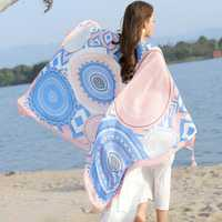 Women Printing Breathable Thin Voile Scarf Outdoor Summer Sunscreen Beach Shawl