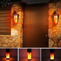 Solar Flame Wall Light Outdoor Courtyard Garden Landscape Lamp 3 Lighting Modes