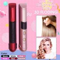 Cordless USB Charge Hair Straightener Curler LED Display